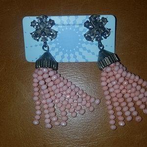Jewelry - Light pink and faux diamond tassel earrings